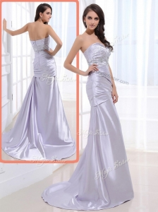 Luxurious Column Sweetheart Celebrity Dresses with Beading and Ruching