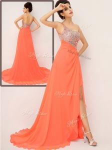 Luxurious One Shoulder Celebrity Dresses with High Slit and Sequins