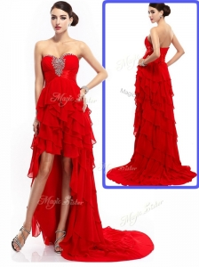 New Style High Low Ruffled Layers Celebrity Dresses with Beading