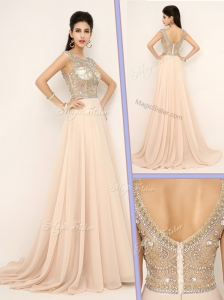 Pretty Empire Bateau Brush Train Celebrity Dresses with Beading