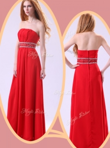 Simple Empire Strapless Red Celebrity Dresses with Beading