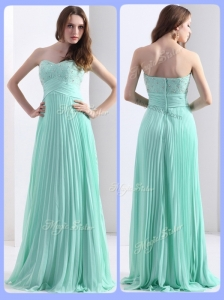 2016 Empire Beading and Sequins Apple Green Prom Dresses with Brush Train