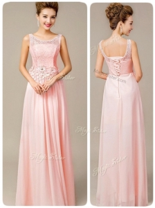 Beautiful Scoop Empire Popular Prom Dresses with Appliques and Lace