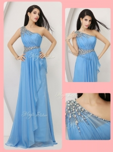 Cheap Empire One Shoulder Prom Dresses with Beading and Ruching