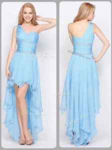 Inexpensive One Shoulder High Low Popular Prom Dresses with Beading
