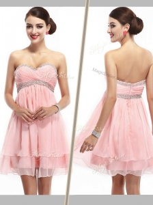 Lovely Sweetheart Short Prom Dress with Beading and Ruching