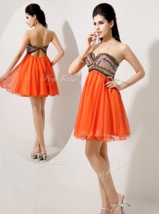 Low Price Short Orange  Red Popular Prom Dresses with Beading and Sequins