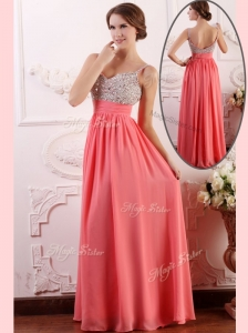 Most Popular Empire Straps Watermelon Prom Dress for Celebrity