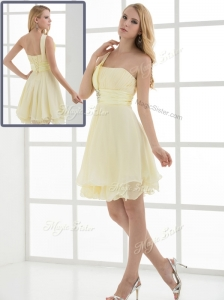 Pretty Short One Shoulder Beading and Belt Dama Dresses for Summer