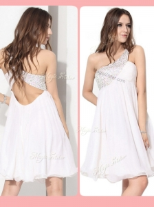 Pretty Short One Shoulder Beading Dama Dress in White