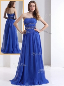 Simple Strapless Empire Blue Prom Dresses with Ruching and Beading