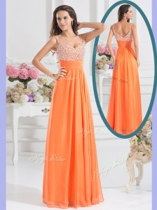 Best Empire Spaghetti Straps Beading Popular  Prom Dress for Fall