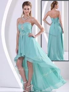 Low Price Sweetheart High Low Popular  Prom Dress with Beading