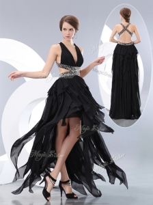 New Style V Neck High Low Prom Dresses in Black