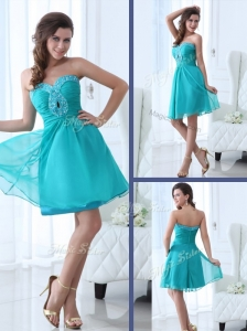 Pretty Short Sweetheart Beading  Popular Prom Dress in Turquoise