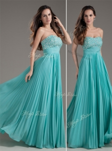 Classical Empire Strapless Turquoise Long Prom Dress