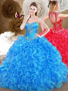 2016 Pretty Blue Sweet 16 Quinceanera Dresses with Beading and Ruffles