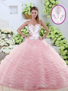 Sweet Brush Train Quinceanera Dresses with Beading and Ruffled Layers