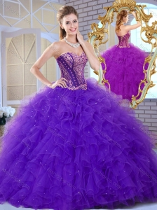 Affordable Sweetheart Ruffles and Appliques Sweet 16 Quinceanera  Dresses