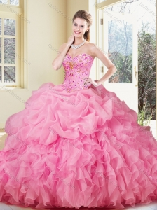 Lovely Ball Gown Rose Pink Quinceanera Dresses with Ruffles and Pick Ups