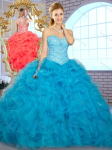 Pretty Ball Gown Teal Quinceanera Dresseswith Beading and Ruffles