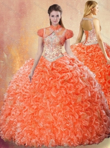 2016 Best Straps Brush Train Sweet 16 Quinceanera Dresses with Ruffles
