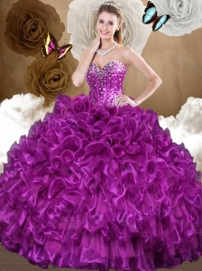 Beautiful 2016 Purple Sweet 15 Quinceanera Dresses with Beading and Ruffles