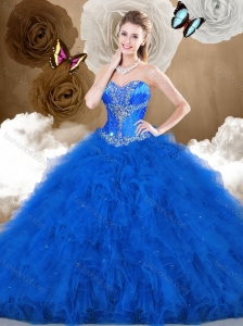 Cheap Ball Gown Sweetheart Beading and Ruffles Quinceanera Dresses
