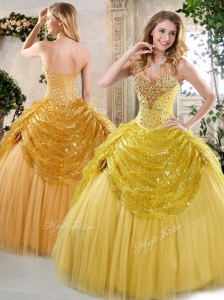 Cute Ball Gown Sweet 16 Quinceanera Dresses with Beading and Paillette for Fall 2016