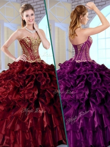 Cute Ball Gown Sweetheart Sweet 16 Quinceanera Dresses with Ruffles and Appliques