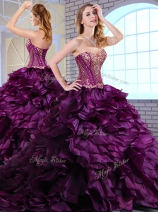 Cute Brush Train Dark Purple Sweet 16 Quinceanera Dresses with Ruffles and Appliques
