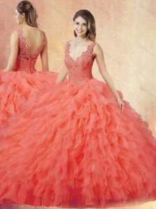 New Arrivals V Neck Sweet 16 Quinceanera Dresses with Ruffles and Appliques