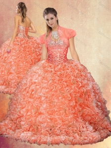 Perfect Brush Train Sweet 16 Quinceanera Dresses with Beading and Ruffles