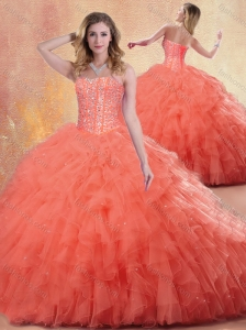 Pretty Ball Gown Orange Red Quinceanera Dresses with Ruffles