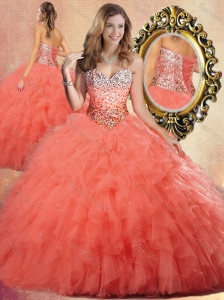 Pretty Ball Gown Sweet 16 Quinceanera Dresses with Beading and Ruffles