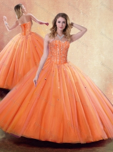 Pretty Ball Gown Sweetheart Orange Quinceanera Dresses with Beading