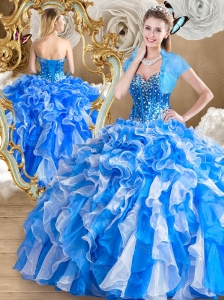Pretty Multi Color Quinceanera Dresses with Ruffles and Beading