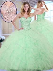 Clearance  Ball Gown Apple Green Sweet 16 Quinceanera Dresses with Beading and Ruffles