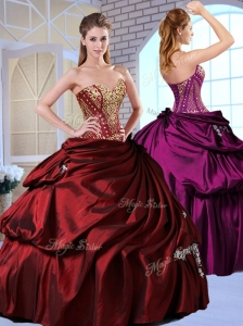 Clearance Ball Gown Taffeta Wine Red Quinceanera Dresses with Pick Ups