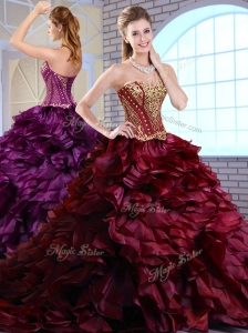 Clearance Brush Train Ruffles and Appliques Quinceanera Dresses in Wine Red