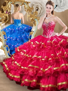 Cute Red Sweet 16 Quinceanera  Dresses with Beading and Ruffled Layers