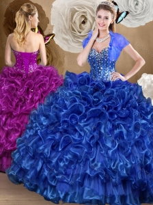 Cute Royal Blue Quinceanera Dresses with Beading and Ruffles