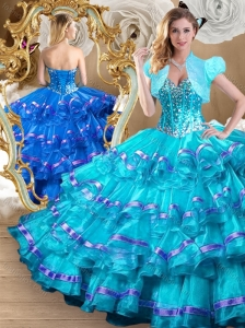2016 Clearance Ball Gown Sweet 16 Quinceanera Dresses with Ruffled Layers