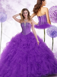 2016 Clearance  Strapless Purple Quinceanera Dresses with Beading and Ruffles