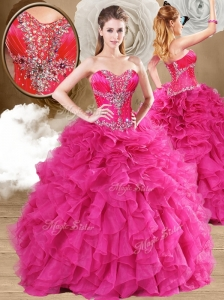 2016 Discount  Ball Gown Fuchsia Sweet 16 Quinceanera Dresses with Ruffles
