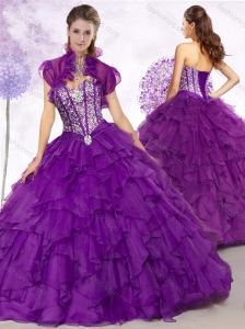 Clearance Ball Gown Purple Quinceanera Dresses with Beading and Ruffles