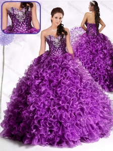Clearance Ball Gown Sweetheart Ruffles and Sequins Quinceanera Dresses