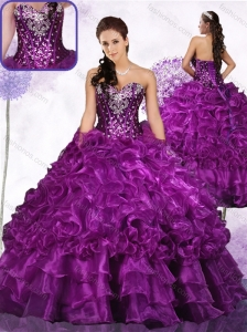 Clearance Beading Ball Gown Sweet 16 Quinceanera Dresses with Ruffles and Sequins