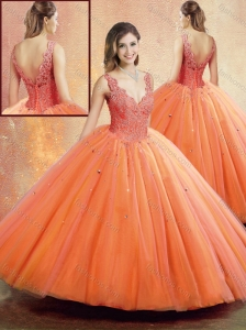 Clearance Straps Orange Sweet 16 Quinceanera Dresses with Beading and Appliques