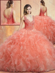 Clearance V Neck Sweet 16 Quinceanera Dresses with Ruffles and Appliques